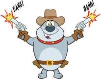 Gray Bulldog Cowboy Cartoon Character skytte med två vapen royaltyfri illustrationer