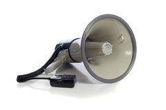 Gray bullhorn on white Stock Photography