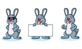 Gray Bunny Mascot happy vector illustration