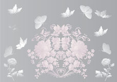 Gray butterflies and flowers Stock Photos