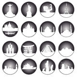 Gray buttons of famous places in the world. On a white background Stock Photos