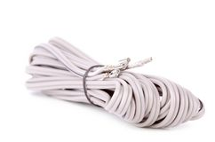 Gray cable isolated on white background Stock Photo