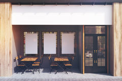 Gray cafe exterior, posters, toned Royalty Free Stock Photo