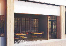 Gray cafe exterior, side, toned Royalty Free Stock Photography