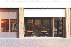 Gray cafe exterior, toned Royalty Free Stock Photo