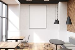 Gray cafe interior, poster. Vertical framed poster on a cafe wall. Large windows, white and wooden walls and round tables with sofas and stools. 3d rendering Royalty Free Stock Photos