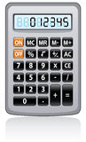Gray calculator. Vector illustration of gray calculator with reflection Stock Photo