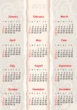 Gray calendar for 2013 Royalty Free Stock Photos