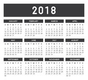 Gray Calendar 2018. Calendar vector design and template. Isolated background Stock Photo