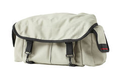 Gray canvas shoulder bag Royalty Free Stock Photo