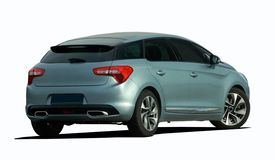 Gray car back view Royalty Free Stock Photography