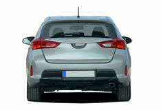 Gray car rear View. Gray hatchback on white background, rear View Royalty Free Stock Photography
