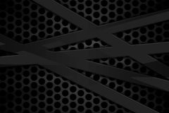 Gray carbon fiber frame on black mesh carbon background. Metal background and texture. 3d illustration material design Stock Image