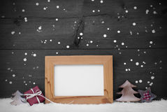 Gray Card With Frame And Red Decoration, Copy Space, Snow Stock Photography