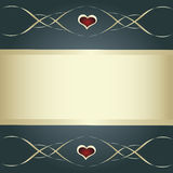 Gray card with golden banner, heart and lines Stock Photo