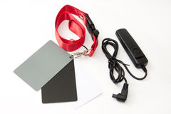 Gray card and remote shoot switch for dslr camera Stock Photos