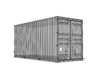 Gray cargo container, digital 3d render with wireframe lines Stock Images