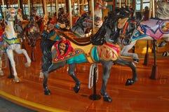 Gray Carousel Horse con la melena negra Imágenes de archivo libres de regalías