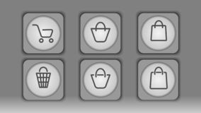 Gray cart icons and bags stock illustration
