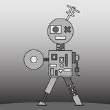 Gray cartoon robot Royalty Free Stock Images