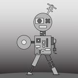 Gray cartoon robot vector illustration