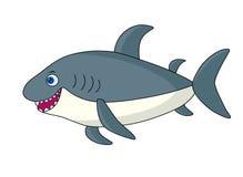 Gray cartoon shark. Isolated image on white background.Cute marine vector illustration for kids.Ocean predator Royalty Free Illustration