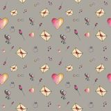 Gray cartoon valentine pattern. Cute cartoon valentine pattern with different elements about love including love letters, roses, glasses, notes on a gray Royalty Free Stock Photos