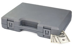 Gray case with bills of dollars Stock Photo