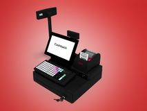 Gray cashier with monitor with cashback function while printing receipt isolated 3d render on red background with shadow. Gray cashier with monitor with cashback royalty free illustration