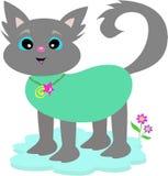 Gray Cat with Bamboo Collar Stock Photos