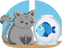 Gray Cat and Blue Fish Stock Image