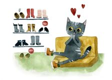 Gray cat in the store buys your favorite shoes royalty free illustration