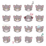 Gray cat face emojis. Cute gray cat emoji collection Stock Photo