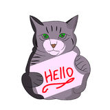 Gray cat with frame, cartoon on white background. Vector Royalty Free Stock Images