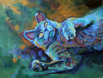 Gray Cat on the Grass - acrylic painting. Acrylic painting of a gray cat laying on the grass - painted by me (Linda Bucklin Royalty Free Stock Image