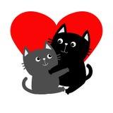 Gray Cat noir étreignant la famille de couples Étreinte, étreinte, caresse Coeur rouge Carte de voeux heureuse de jour de Valenti illustration de vecteur