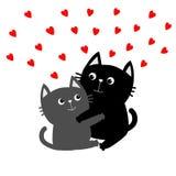 Gray Cat noir étreignant la famille de couples Étreinte rouge de coeurs, étreinte, caresse Carte de voeux heureuse de jour de Val illustration de vecteur