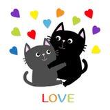 Gray Cat preto que abraça a família dos pares Os corações da cor do arco-íris abraçam, abraçam, afagam Ame o cartão Personagem de Fotos de Stock