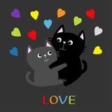 Gray Cat preto que abraça a família dos pares Os corações da cor do arco-íris abraçam, abraçam, afagam Ame o cartão Personagem de Foto de Stock