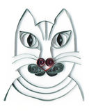 Gray cat quilling application portrait with heart nose. Application quilling portrait of a gray cat with red heart nose Royalty Free Stock Photography