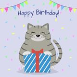 A gray cat is sitting and holding a box with a gift on the background of confetti and flags. Congratulations on his birthday. Cartoon, flat style. Vector Stock Photo