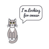 Gray cat with speech bubble and saying Royalty Free Stock Images