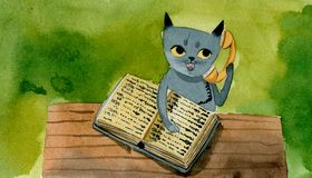 Gray cat with a telephone directory speaks on the phone, royalty free illustration