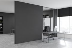 Gray CEO office corner with mock up wall stock images