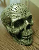 Gray Ceramic Skull Figurine Royalty Free Stock Images