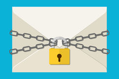 The gray chain, letter and padlock Stock Photo