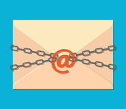The gray chain, letter and padlock. The gray metal chain,Email at symbol and padlock, letter. concept of protection e-mail, internet technology, business mail Stock Photos