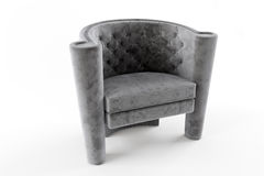 Gray chair fabric chesterfield Royalty Free Stock Photo