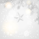 Gray christmas background with branches and star. Vector illustration, eps 10 with transparency Royalty Free Stock Image
