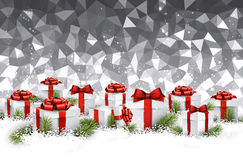 Gray Christmas background with gifts. Royalty Free Stock Image